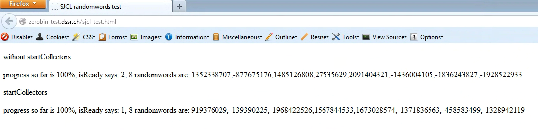 SJCL test on Firefox version 21