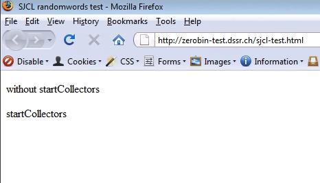 SJCL test on Firefox version 3