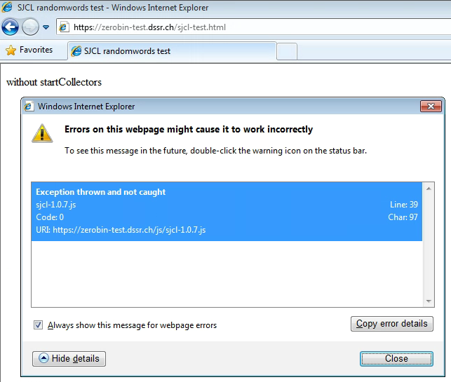 SJCL test on Internet Explorer version 8